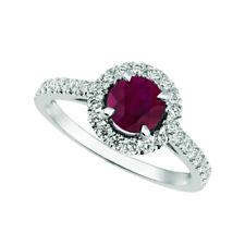 1.65 Carat Natural Diamond & Ruby Engagement Ring 14K White Gold