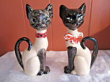 """Vintage siamese cat salt and pepper shakers 6"""" tall collectible"""