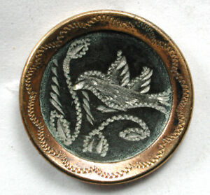 Antique Bright Cut Pewter Button with Brass Border Bird in Tree - 11/16""