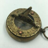 Antique Repro Pocket Compass and Sundial With Folding Gnomon Etched Sailing Ship