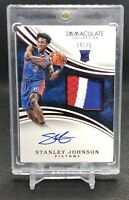 2015-16 Immaculate #119 STANLEY JOHNSON RC Rookie Patch Auto RPA /25 Pistons 💎