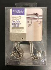 Better Homes and Gardens 12 Easy Glide Open Double Shower Hooks, Brushed Nickel