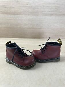 Dr. Martens BROOKLEE B Red Leather Lace Up/Side Zip Ankle Boots Toddler Size 6