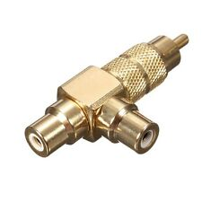 Gold Plated RCA Phono Splitter Plug 1 Male to 2 Female Audio Y Adapter Connector
