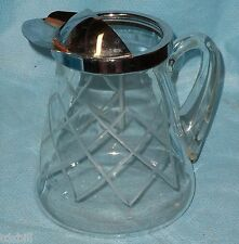 Diamond Cut Glass Water Pitcher w/ Ice Lip Mold Blown - 1950's Gilley New York?