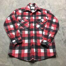 SEARS KINGS ROAD VTG 70s 80s Plaid Flannel Buffalo Black Red White Work Shirt M