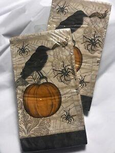 Jennifer Van Pelt Halloween Paper Guest Napkin Towel Crow Pumpkin Spider 32 Ct