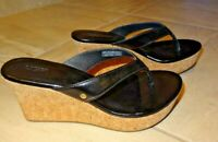 UGG Women's Black Patent Look Strappy Cork Wedge Sandals Womens Size 6        /1