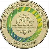 2018 Australian 2 Dollar Coin UNC Commonwealth Games Team Circulated Green Gold