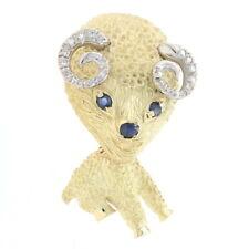 Yellow Gold Sapphire & Diamond Vintage Ram Brooch - 18k Round .65ctw Zodiac Pin