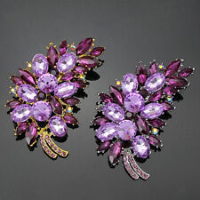 U651788_Women's Feather Flower Rhinestone Brooch Broach Pin Banquet Breastpin