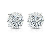 4 Ct Diamond Stud Earrings Round Diamond Solitaire Stud Earrings 14K White Gold