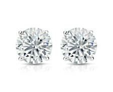 Solitaire Stud Earrings 14K White Gold 4 Ct Diamond Stud Earrings Round Diamond