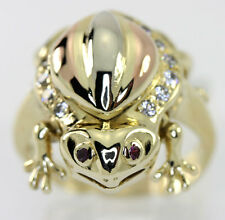 Frog ring ruby 14K rose yellow white gold cubic zirconia round gems .31CT 9.4GM