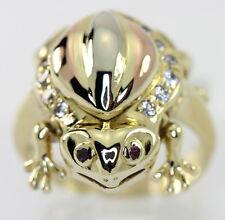 Sapo anillo rubí 14K rosa amarillo oro blanco circonia cúbica redondo gemas