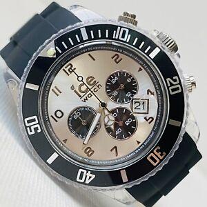 Ice Watch 44mm Clear Chronograph Mens Women 50M Black Silicone Date CH.BK.U.S.10