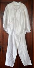 Vintage Gilligan O'Malley White Satin Pajama Set Pants Top size Small Medium