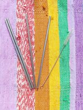RESUABLE STAINLESS STEEL STRAWS, SET OF 4 ECO ENVIRONMENTALLY FRIENDLY PICNIC