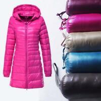 Women Packable Ultralight Long 90% Down Hooded Jacket Puffer Parka Coat