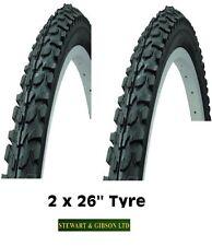 "2 x Coyote Bicycle Bike Tyre Mountain Bike Off Road 26"" x 1.95 Inch Black PAIR"