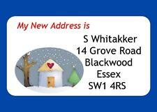 40 Personnalisé GLOSS De Changement d'Adresse étiquettes, peu de neige Cottage