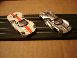 2 TOMY AFX H.O. SCALE SLOT CAR BODY ONLY FORD GT 40 MKII IN SILVER & WHITE SEE !