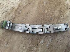 """Men's  Bracelet Titanium Diamond Link 8.25"""" by Super Horse silver tone"""