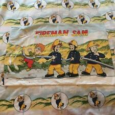 Vintage Fireman Sam Cartoon Fabric Print Duvet Cover & Pillowcase Set 1990s