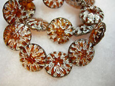 10 14mm Czech Glass Amber w/ Silver Mercury wash Dahlia Flower Coin Beads