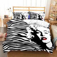 3D Stripes Marilyn Monroe Duvet Cover Bedding Set Pillowcase Modern Quilt Cover