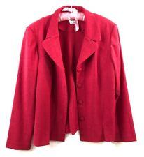 Leslie Fay Dress Fuchsia Pink Two Piece Satin Dress Blazer 14 Large