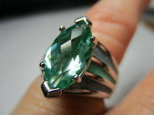 STERLING SILVER ROSS SIMONS MARQUISE GREEN BERYL RIDGED BAND RING SIZE 6