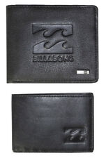 "Billabong Mens ""wave"" Black Leather Wallet Two in One Trifold"