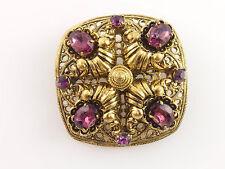 Vintage Lovely Brass? Ornate Filigree Brooch Pin Purple Rhinestones Czech?