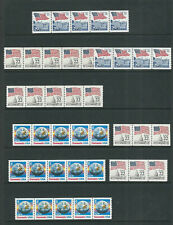 United States 1980s Flag over Capitol, Earth 'E' 9 coil multiples Vf Mnh