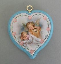 Schutzengelbild mit Baby und Laterne Herzform Rand hellblau Taufe   AR 53