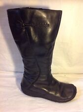 Hush Puppies Black Mid Calf Leather Boots Size 5.5