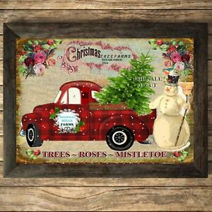 Christmas Truck Print Sign,Picture Trees Wall Decor, a4 Unframed Mistletoe