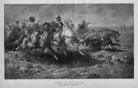 HORSES CHARGE OF ARAB CAVALRY 1882 ANTIQUE ENGRAVING ARABIAN HORSE REINS SADDLE