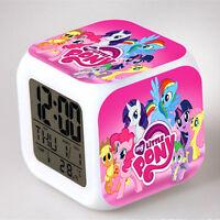 1x My Little Pony 7 Color Changing Night Light Alarm Clock Kid Toy Birthday Gift
