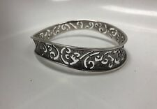 Silpada India Sterling Silver 925 Frosted Cutout Wave Bangle Cuff Bracelet