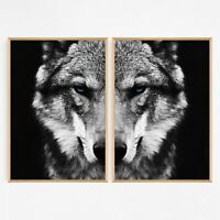 Set of 2 Wolf Animal Wall Art Matching Print A3 A2 A1. Perfect for Home Decor