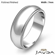 Dome Milgrain Edge Classic Ring Men Wedding Solid Band 7mm Platinum 13.3g 8-8.75