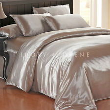 NEW Luxury Soft GOLD/LATTE QUEEN Size Satin Doona Quilt Duvet Cover Silk Feel