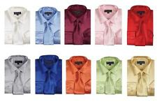 Men's Fashion Shiny Satin Dress Shirt With Tie And Handkerchief 10 colors 15~20
