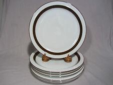 """Mikasa """"Metro"""" White Brown Rim Dinner Plates - Set of 6 EXCELLENT"""