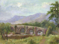 Eva Walbourn, Landscape Bridge View – Original early 20th-century oil painting