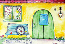 HEDGEHOG ON THE BENCH AT FRONT DOOR IS WAITING FOR MAIL Modern Russian card