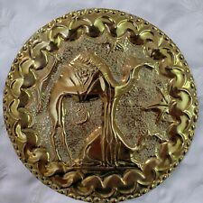 Vintage Moroccan Arabic Islamic Handmade Engraved Brass Wall Hanging Plate Camel
