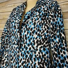 Tavora Women's Lined Blazer Sz 4 Blue Black Gray White Polka Dots NWT